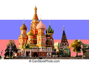 St Basil Cathedral, Moscow, on Russian flag