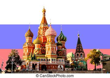 C/, albahaca, catedral, moscú, ruso, bandera