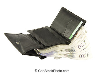 wallet with Acirc;pound;20 notes - black wallet full of...