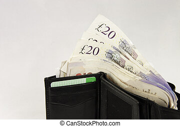 Acirc;pound;20 notes in a wallet - £20 notes sticking out...