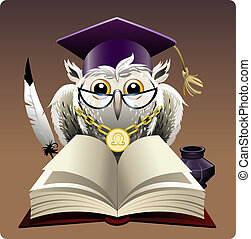 Owl in bachelor hat - Illustration with wise owl in bachelor...
