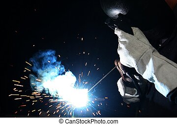 Welding Flame on Black Background