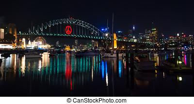 Sydney, Harbour Bridge at night