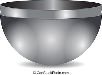 Two bowls of steel in one another. Vector illustration.
