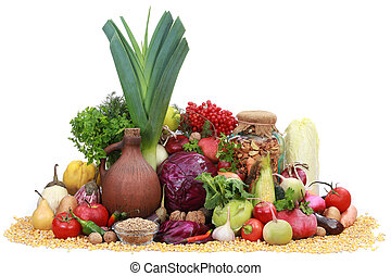 vegetables and fruit on a white background