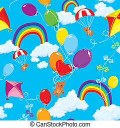 Seamless pattern with rainbows, clouds, colorful balloons, kite, parachute and teddy bears on sky blue background.