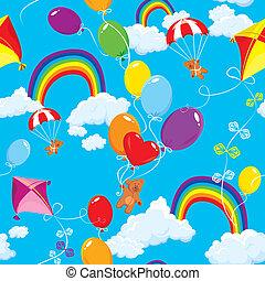 Seamless, mönster, Regnbågar, skyn, färgrik,...