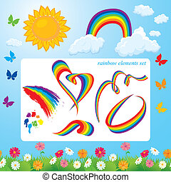 Different shapes of rainbows, clouds, sun, butterflies and flowers. Set of summer time elements for design.