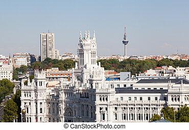Closeup of Palacio de Comunicaciones and facade, Madrid,...