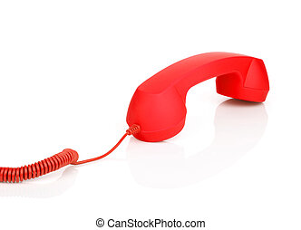Red vintage telephone. Isolated on white background