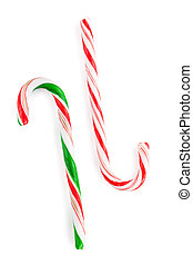 Traditional christmas candy canes. Isolated on white...