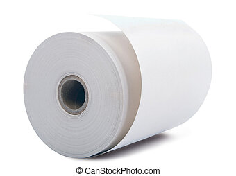 White paper roll - white office paper roll isolated on white...
