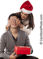 christmass surprise - Wife surprising her husband with a...
