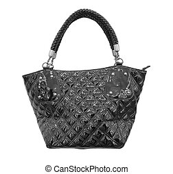 female accessory handbag - black woman handbag isolated on...
