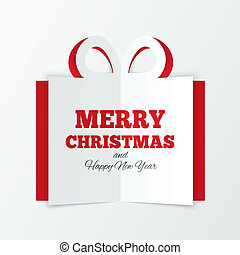 Christmas box cut the paper. Cutout paper gift box greeting...