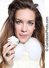 Sensual woman in white fur with mer