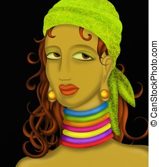 woman with green bandana - portrait of woman with green...