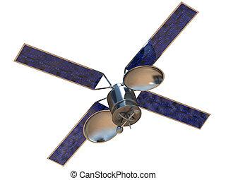 Satellite - 3D rendering of communication satellite on white...