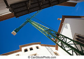 Sitges, old pedestrian part of the town, restoration works...