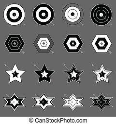 Create target and arrow icons on gray background