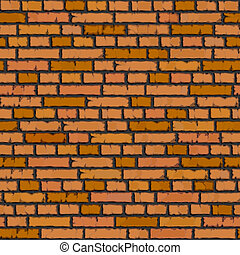 Seamless orange brick wall - Seamless vector background of...