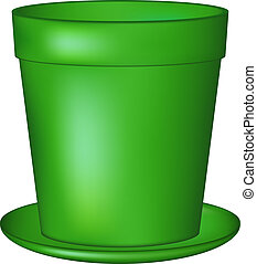 Empty flowerpot in green colour on white background