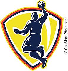Basketballer Dunking Rebounding Ball Retro - Illustration of...