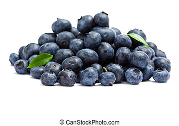 Close up of heap of bilberry, isolated on white. Concept of...