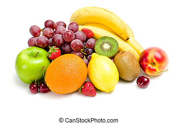 Close up of heap of fruit, isolated on white Concept of...