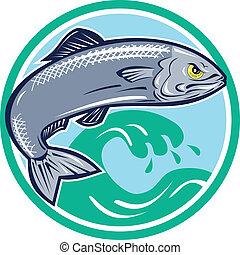 sardinha, peixe, Pular, círculo, retro
