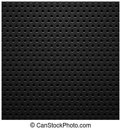 Black metal texture with holes, vector background...