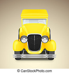 Yellow retro car - Vector yellow retro car icon, vector...