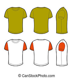 Blank t-shirt - Front, back and side views of blank t-shirt
