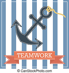 Anchor icon with teamwork sign on stripe background