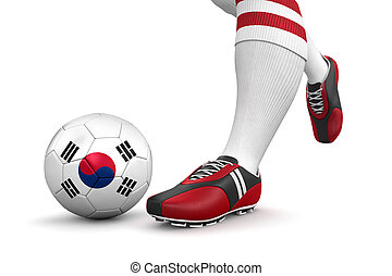 Soccer ball with South Korea flag - Man and soccer ball with...