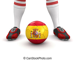 Man, soccer ball with Spanish flag