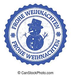 Frohe Weihnachten - Grunge rubber stamp german text Frohe...