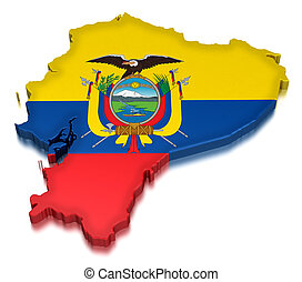 Ecuador (clipping path included) - Map of Ecuador. 3d render...