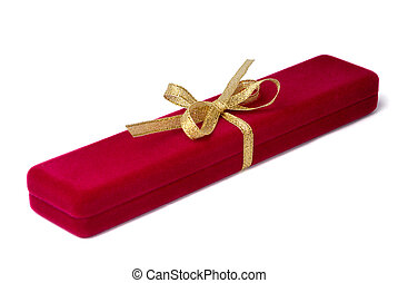 Jewelry gift - Red velvet jewelry box tied by gold ribbon