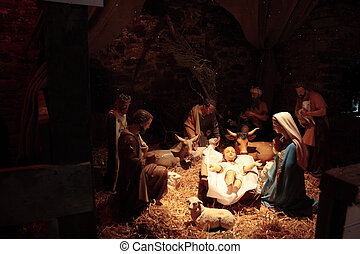 crib - scene of the birth of christ in a stable