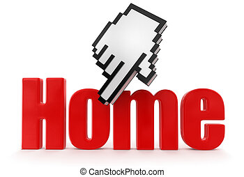 Cursor and Home  - Cursor and Home. Image with clipping path
