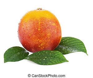 Ripe red blood oranges with green leaves isolated on white...