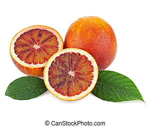 Ripe red blood oranges with cut and green leaves isolated on...