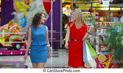 Glamorous Shopping - Glamorous ladies enjoying their...