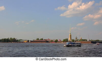 Neva river in the historical center of Saint-Petersburg, Russia - timelapse