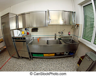 industrial stainless steel sink kitchen of a school canteen