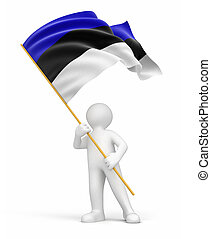 Man and Estonian flag. Image with clipping path