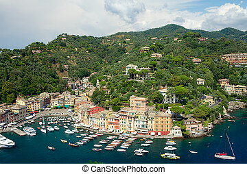 Panorama of Portofino, Liguria, Italy - Panorama of...