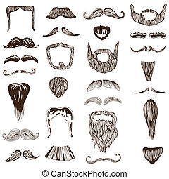Set of hand drawn Moustache Mustache - photo booth, costume,...