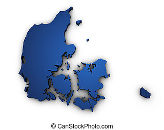 Map Of Denmark 3d Shape - Shape 3d of Denmark map colored in...